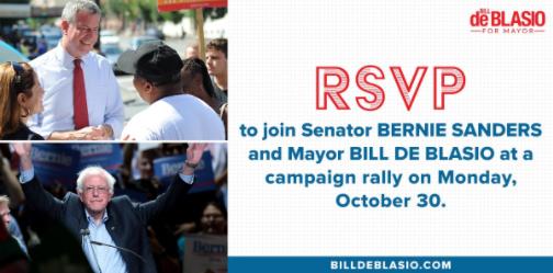 Bernie, candidato à Presidência em 2016, apoiou a candidatura de Blasio (os dois não são membros do mesmo partido)