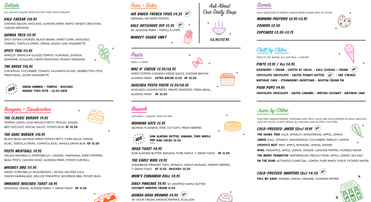 menu by chloe
