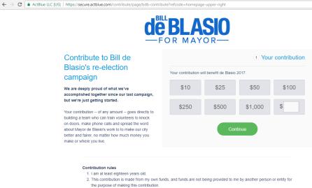 Sistema de doações individuais para a Campanha do prefeito reeleito
