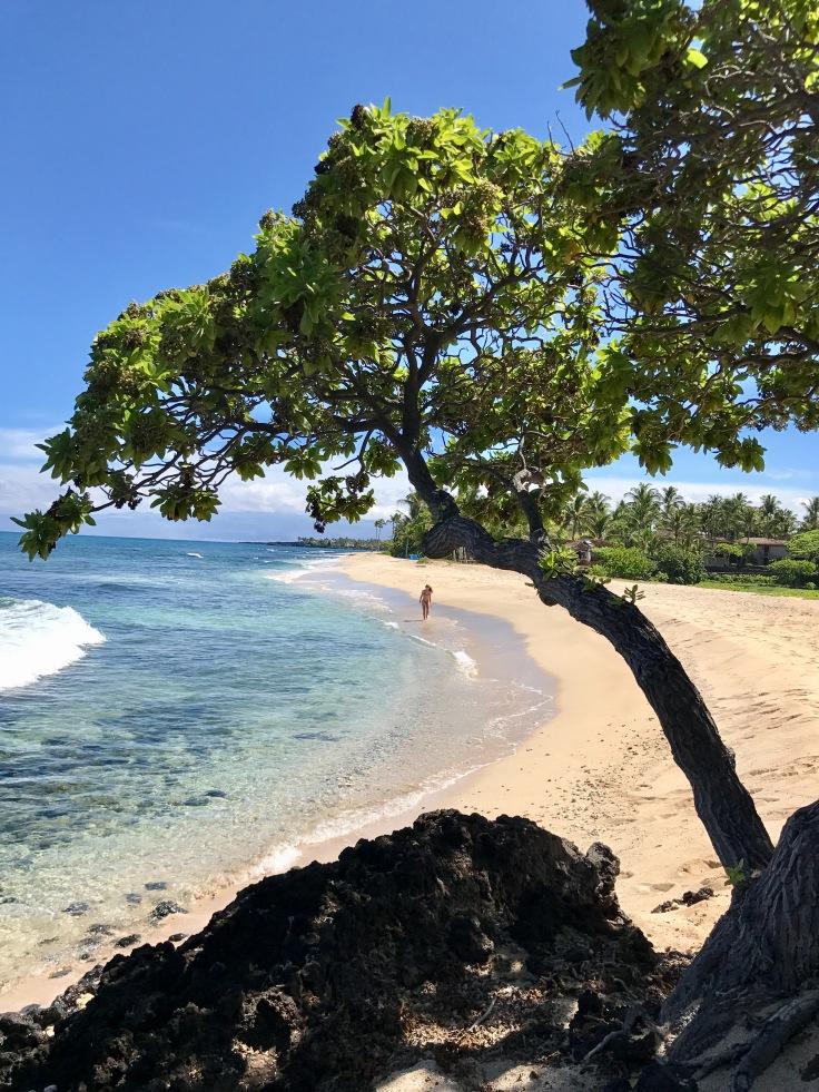 Amanda Denti - Caminhada em Kona Beach após aula de meditação oferecida pelo Resort